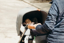 Anonymous Mother With Baby Stroller In Park