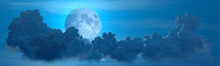 Panoramic Night Clouds With Moon - Design Nature 3D Illustration