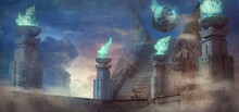 3D Illustration Of A Fantasy Alien Temple With A Large Mysterious Object Emitting Glowing Flames - Digital Fantasy Painting