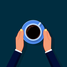 Businessman Serving Coffee. The Concept Of Taking A Break. Vector Illustration