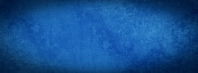 Dark Blue Abstract Stone Concrete Paper Texture Background Banner Panorama With Vignette.