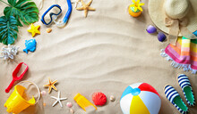 Summer Travel And Beach Holiday Background.  Concept For Family Vacation With The Children
