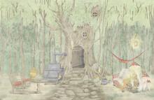 Drawn Children's Book Illustration. Beautiful Children's Design For Postcards, Card, Wallpaper, Photo Wallpaper, Mural. Design For Children, Nursery, Teenage Room, Kids Room.
