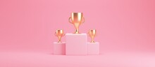 Podium Of Three Cubes With Golden Cubes