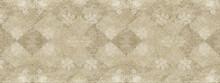 Old Beige White Brown Vintage Worn Shabby Elegant Damask Rue Diamond Floral Leaves Flower Patchwork Motif Tiles Stone Concrete Cement Wall Wallpaper Texture Background Banner