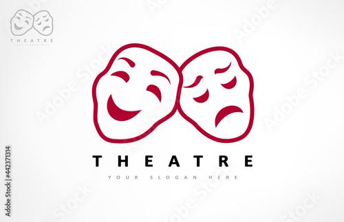 Obraz na plátně Theater masks logo vector. Theater and acting design.