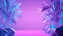 Abstract Neon Color Scene With Tropical Leaves. 3d Illustration