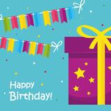 Fototapeta Sypialnia - Happy birthday gift with banner