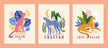 Cheetah Posters Collection. Vector Illustration Of Three Graphic Templates With A Cheetah Surrounded By Tropical Leaves In Trendy Abstract Style