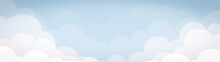 Blue Sky With Clouds Illustration Design Banner On Summer Holiday