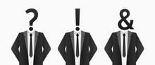 Businessman With Question Mark, Exclamation Mark, Ampersand Instead Of Head Background