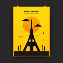 Effiel Tower Famous Landmark Of Paris, France Travelling Poster