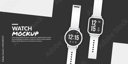 Valokuva Modern smart watch mockup isolated with copy space at side