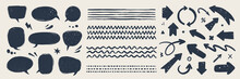 Abstract Vector Arrows, Bubbles, And Strokes. Various Doodle Elements For Presentations And Infographics With Grunge Texture. Hand-drawn Abstract Vintage Infographic Vector Collection.