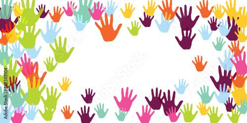 Murais de parede Cheerful kids handprints art therapy concept vector illustration.