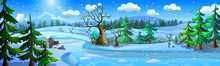 Winter Forest Landscape With Frozen River, Snowdrifts And Fir Trees. Blizzard In A Snowy Forest.