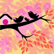 Bird, Illustration, Tree, Branch, Nature, Abstract, Floral, Flower,