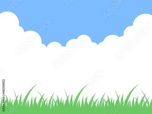 Fototapeta 青空と草原の風景