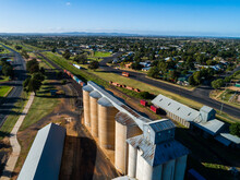 Aussie Country Town Scene In Narromine Of Grain Silos Beside Railway And Freight Train