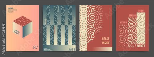 Fotografija Wavy Geometric Gradient Poster Design Template Set