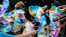 A Man Makes Large And Long Soap Bubbles Against The Background Of Green Trees. A Holiday For Children
