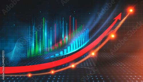 Obraz na plátně Business neon background, gravity growth