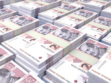 Croatian Money. Croatian Kuna Banknotes. 20 HRK Euro Bills.