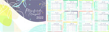 Calendar Template For 2022 Spanish Edition. Horizontal Design With Abstract Nature Flowers. Editable Illustration Eps. A4 Set Of 12 Months With Cover.