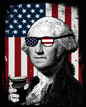 George Washington First President Of The United States Of America USA Grunge American Flag Background Distress
