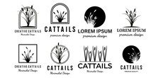Set Of Cattails Or Cat Tail Line Art Minimalist Simple Vector Logo Icon Illustration Design Creative