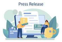 Press Release Concept. Mass Media Publishing, Daily News Broadcasting.