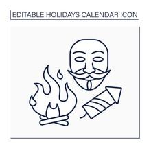 Guy Fawkes Night Line Icon.Bonfire Night. Fireworks And Bonfires. Guy Fawkes Dummy Burn. Holidays Calendar Concept. Isolated Vector Illustration. Editable Stroke