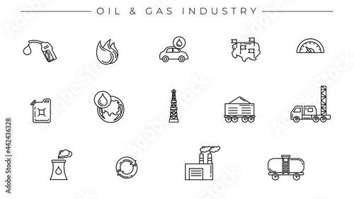 Fotografie, Obraz Oil and Gas Industry concept line style vector icons set
