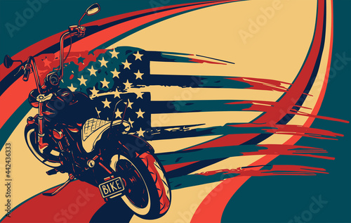 Obraz na plátně chopper motorcycle with american flag vector illustration