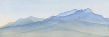 Mountains In Blue Watercolor Painted Illustration, Mountain Range Background, Scenic Landscape For Travel Or Tourism Background, Nature And Outdoors Illustration