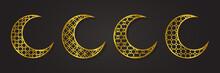 Islamic Moon Ornament Golden Luxury, Arabesque Pattern, Set Collection Design Vector