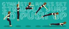 Gymnastic Moves Set Straddle Jump To Push Up Manga Cartoon Vector Illustration