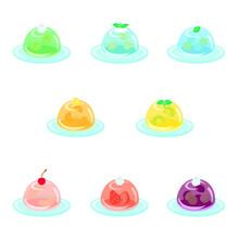 デコレーション付のフルーツ入りゼリー+平皿(丸型)