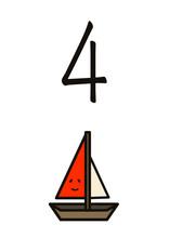 数字の4のイラスト、ヨット