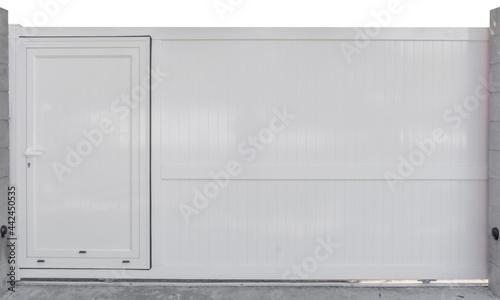 Fotografia Portail coulissant en aluminium blanc avec portillon intégré