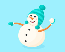A Cheerful Snowman In A Cartoon Style Throws A Snowball. Vector Illustration On The Theme Of New Year And Christmas. Friendly Character.