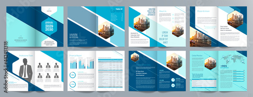 Fotografia Corporate business presentation guide brochure template, Annual report, 16 page minimalist flat geometric business brochure design template, A4 size