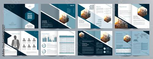 Tablou Canvas Corporate business presentation guide brochure template, Annual report, 16 page minimalist flat geometric business brochure design template, A4 size