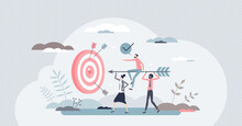 Aim To Target As Business Teamwork Effort And Goal Focus Tiny Person Concept. Company Growth And Successful Strategy Management With Effective Team Communication And Group Unity Vector Illustration.