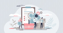 Procurement Work As Supply Chain And Order Processing Tiny Person Concept. Occupation With Task To Control Demand And Communication With Suppliers Vector Illustration. Trade And Shopping Process Scene