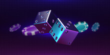 Casino Background. Realistic Thrown Pair Of Dice And Playing Chips. Luxury Gambling 3D Elements. Rolling Cubes With Iridescent Holographic Effect. Vector Online Betting And Risky Games