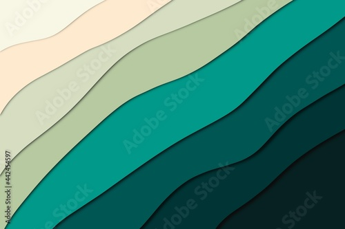 Fotografiet Abstract green gradient paper cut effect  for background
