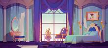 Abandoned Princess Bedroom Interior, Dilapidated Room With Broken Vintage Furniture, Bed, Ragged Wallpaper Or Rug, Ramshackle Decor, Spiderweb And Scatter Splinter Around. Cartoon Vector Illustration