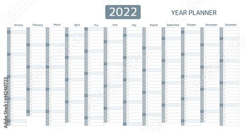 Fotografie, Obraz 2022 year planner, calendar with monthly vertical grid