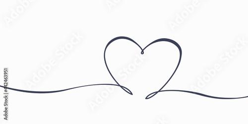 Fotografiet Hand drawn drawing heart love symbol